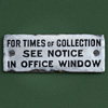Early-1900s enamel postal collection sign