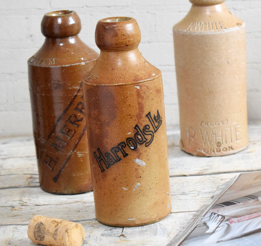 Antique stoneware ginger beer bottle: Harrods Ltd, c. 1900