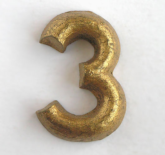 Gold shop display sign number '3', c. 1930s