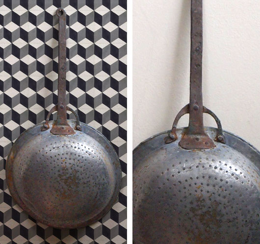 Large antique French colander with iron handle, late-1800s