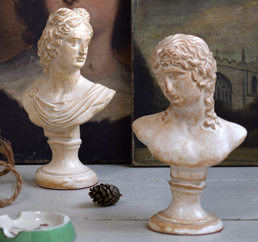 Plaster busts of Apollo and Eros, early 1900s