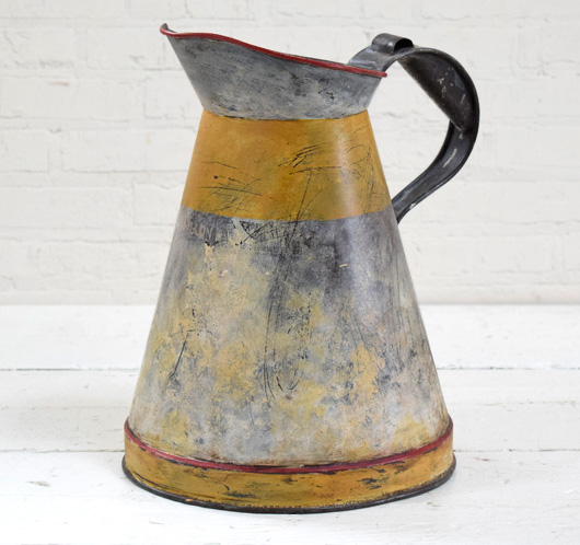 Large distressed vintage metal fuel jug vase, 1 gallon