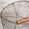 Large wire vegetable basket with turned wooden handle
