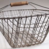 Large flat wire shopping basket with wooden handle
