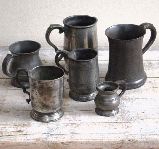 Group of antique pewter tankards