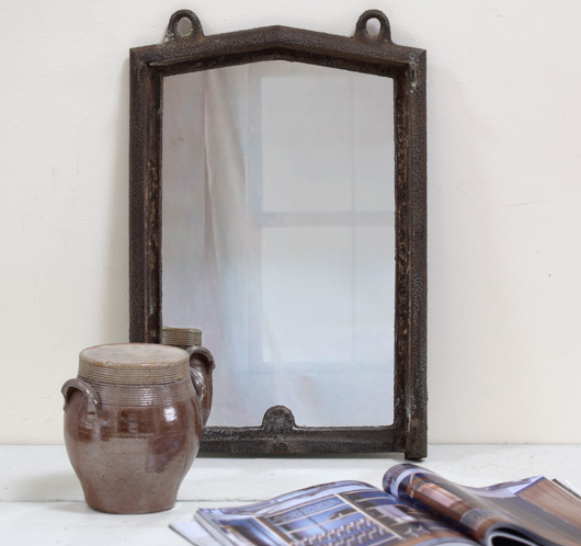 French mid-1800s antique cast iron window frame mirror (M)