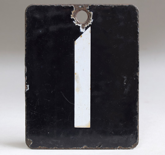 Double-sided vintage enamel railway number sign: 0 / 1
