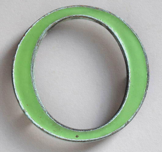 Vintage small green enamel and brass letter 'O', c. 1910