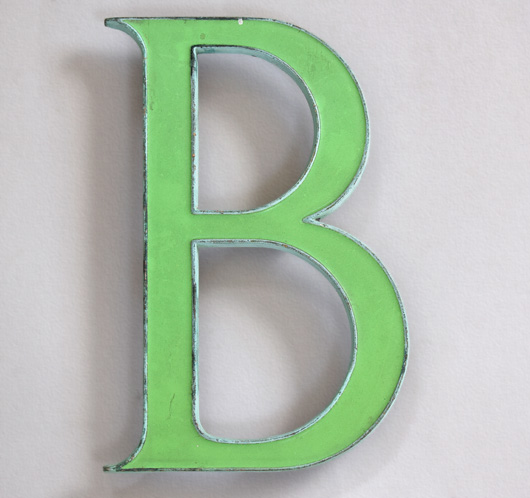 Vintage green enamel and brass sign letter 'B', c. 1910
