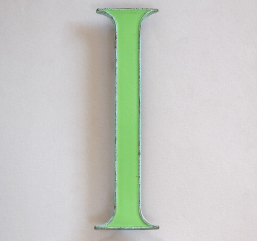 Vintage green enamel and brass sign letter 'I', c. 1910