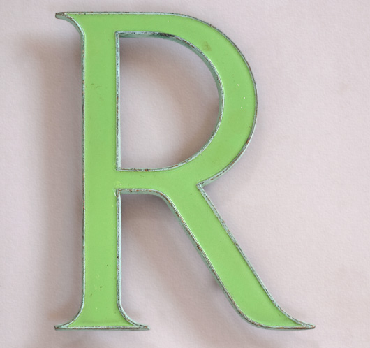 Vintage green enamel and brass sign letter 'R', c. 1910