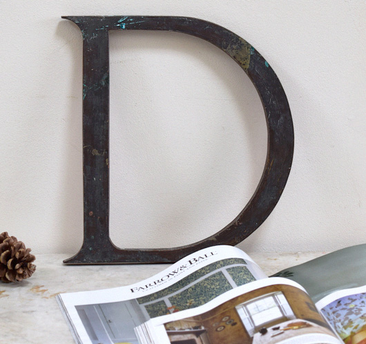 Large antique brass company sign letter 'D', c. 1900