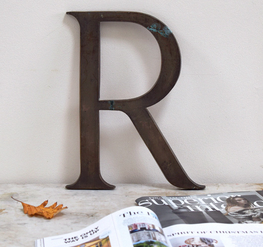 Large antique brass company sign letter 'R', c. 1900