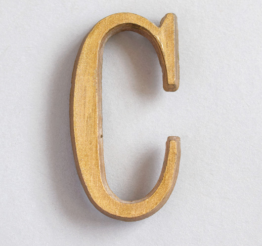 Small vintage gold resin sign letter 'C', c. 1930s