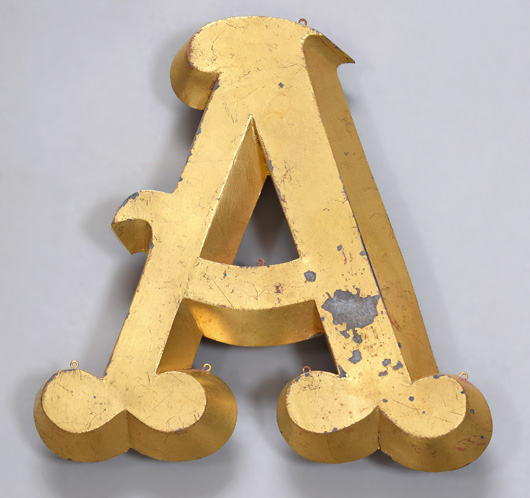 French vintage gold-leaf trompe l'oeil display letter 'A', c. 1900
