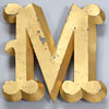 French gold-leaf trompe l'oeil display letter 'M', c.1900