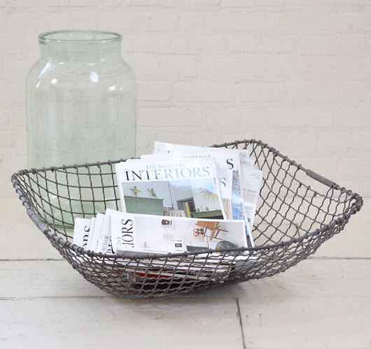 Large heavy-duty vintage rectangular wire basket