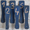 Group of wooden bidding paddles, 1 – 12
