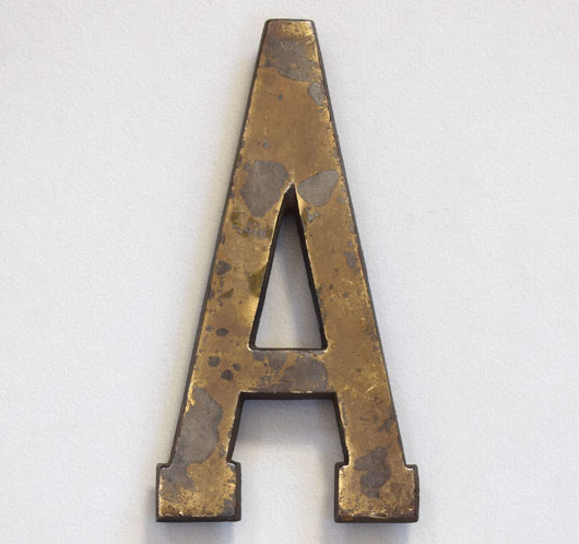 Early-1900s antique brass sign letter 'A', 18cm