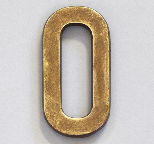 Early-1900s antique brass sign letter 'O', 14cm