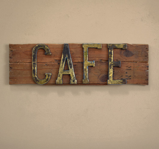Early-1900s painted brass and wood sign: Cafe