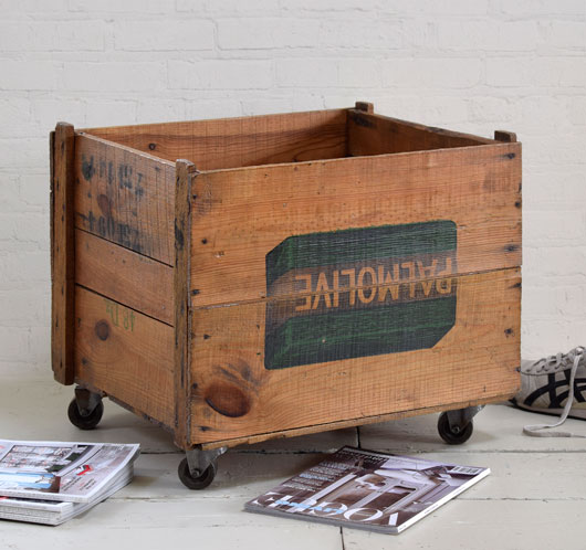 Large antique wooden crate on castors: Palmolive soap