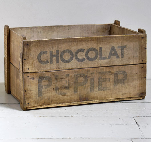 Early-1900s antique French packing crate: Chocolat Pupier