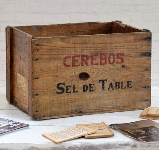 Antique French Cerebos Salt packing crate, c. 1900