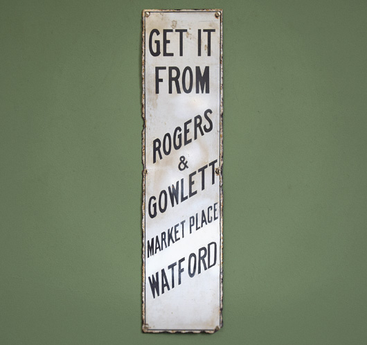 Antique enamel advertising sign: Get It From...