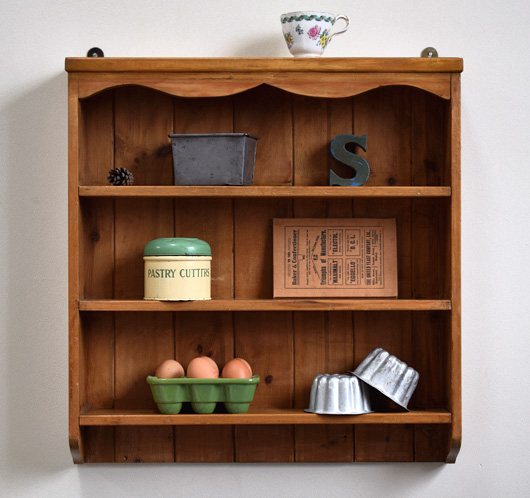 Early-1900s antique pine farmhouse wall shelf