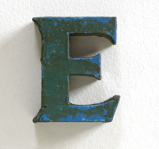 Small vintage painted metal letter 'E'