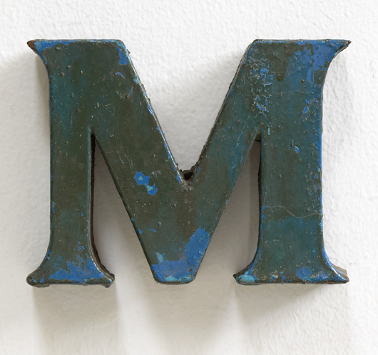 Small vintage painted metal letter 'M'