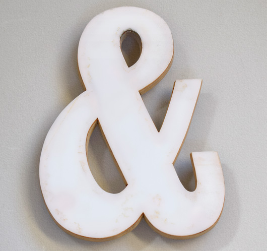 Vintage plywood and white perspex ampersand symbol