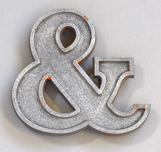 Small vintage stripped cast-metal ampersand symbol