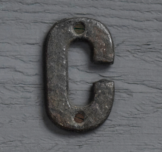 Small antique iron sign letter 'C'