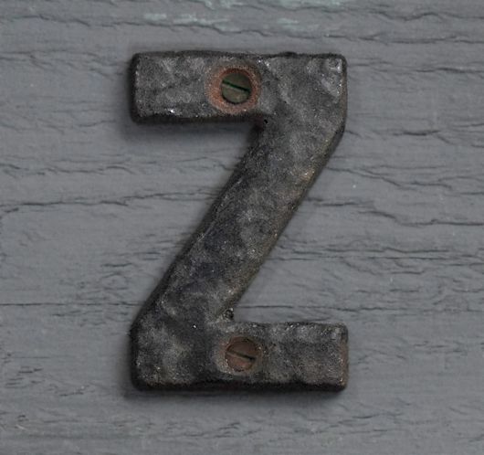 Small antique iron sign letter 'Z'