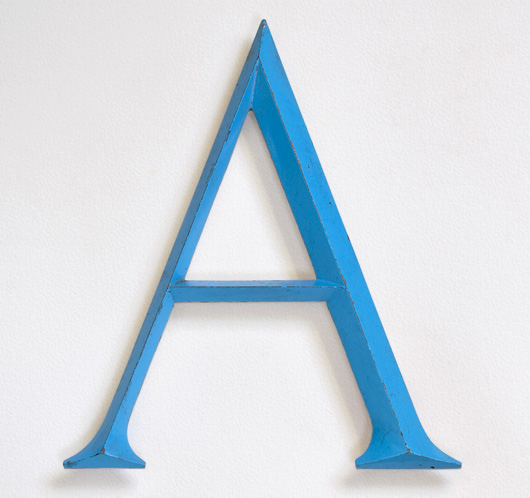 Large vintage sky-blue metal sign letter 'A'