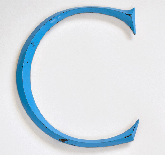 Large vintage sky-blue metal sign letter 'C'