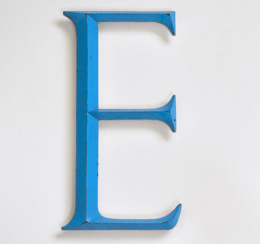 Large vintage sky-blue metal sign letter 'E'