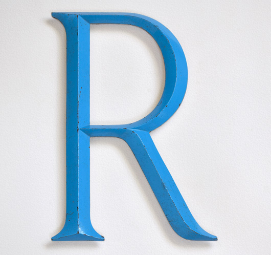 Large vintage sky-blue metal sign letter 'R'