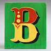 Painted wooden sign letter plaque: B