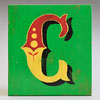 Painted wooden sign letter plaque: C