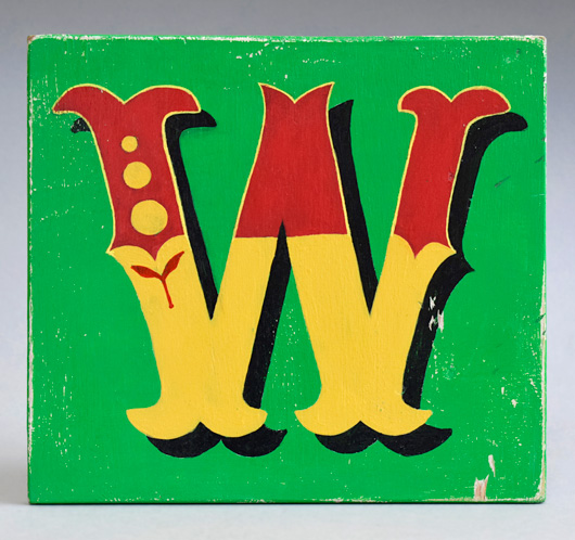 Vintage painted wooden sign letter plaque: W