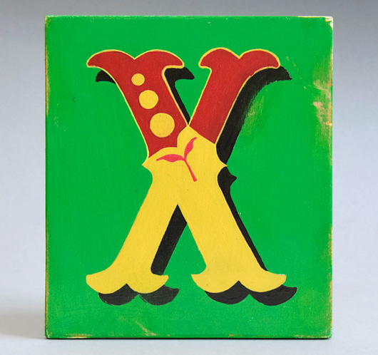 Vintage painted wooden sign letter plaque: X