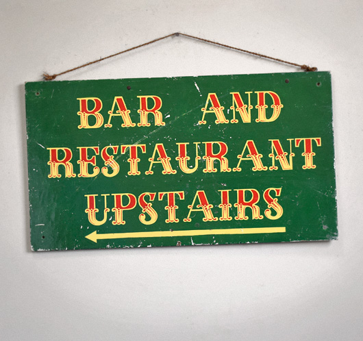 Vintage hand-painted wooden sign: Bar And Restaurant...