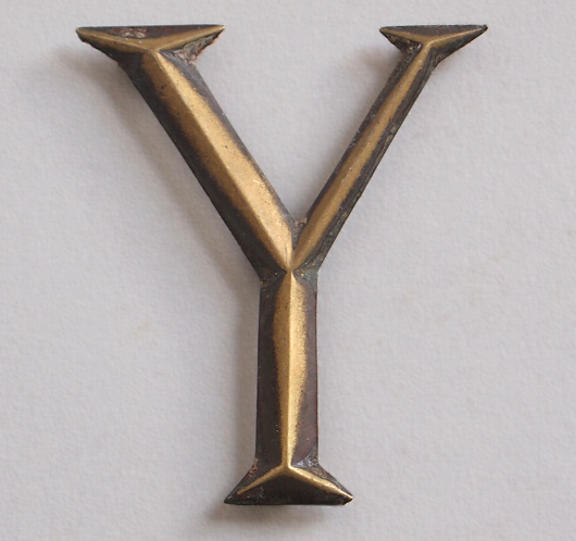 Early-1900s stylised vintage brass sign letter 'Y'