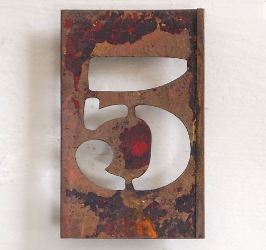 Early-1900s vintage brass number stencil: '5', 9cm