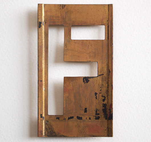Early-1900s vintage brass plate letter stencil: 'F', 11cm