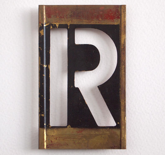 Early-1900s vintage brass plate letter stencil: 'R', 11cm
