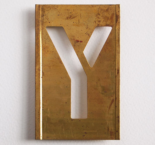 Early-1900s vintage brass plate letter stencil: 'Y', 11cm